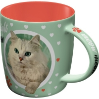 Cană retro Cat Lover - Coffee right meow